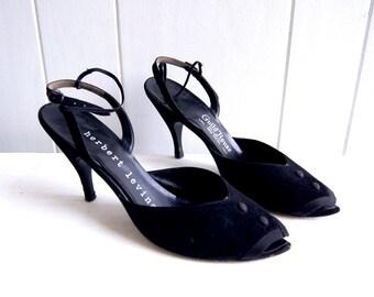 1950s Herbert Levine Designer Black Velvet Peep Toe Sandal Heels // Size 8