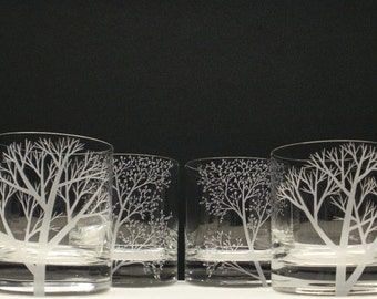 4 Double Old Fashioned Hand Engraved 'Reaching Branches' and 'Branches and Leaves' Crystal Glass Bar ware