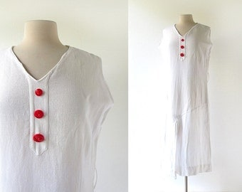 Vintage 20s Dress / White Cotton Dress / 1920s Dress / M L