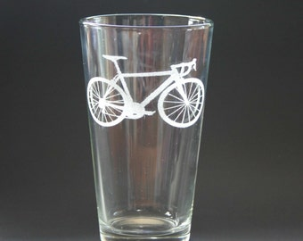 Cycling Etched Pint Glasses Engraved Bicycle Beer Glasses Set of 2