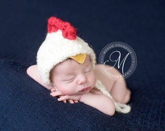 hen hat // newborn photo prop // summer hat // bonnet // photography // farm // boy girl // chicken // baby hat // chick // 3 6 12 months