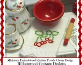 PDF Miniature Embroidery Designs PDF Miniature  Embroidered Cherry Kitchen Towels Pattern - Dollhouse scale