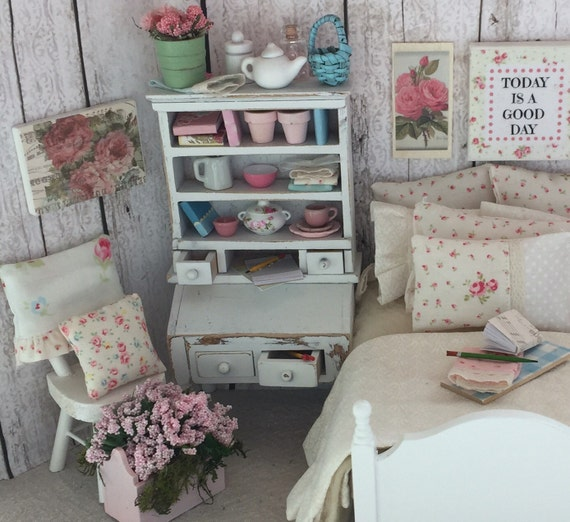 Shabby Style Book and Tea Lovers Hutch -1:12 dollhouse miniature