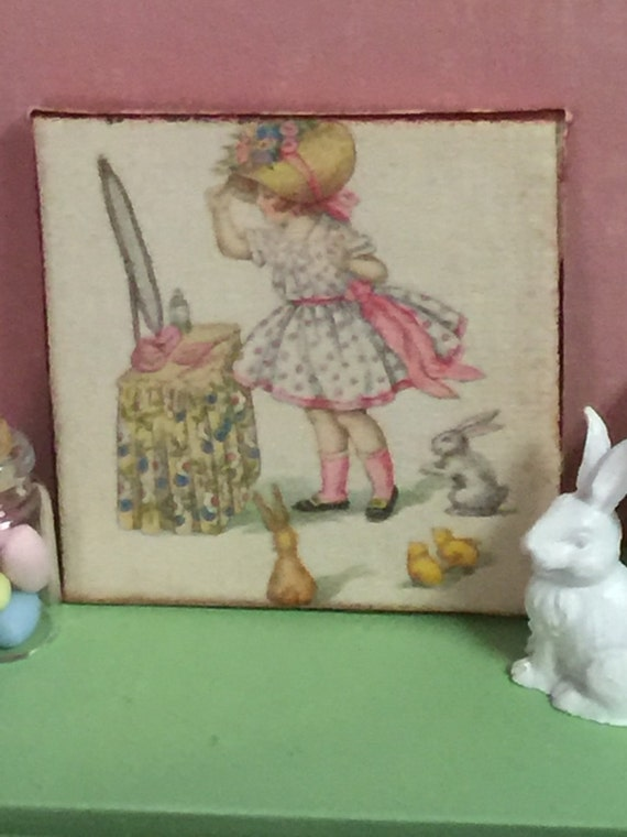 """Vintage Easter Girl Canvas Picture - 2"""" x 2"""""""