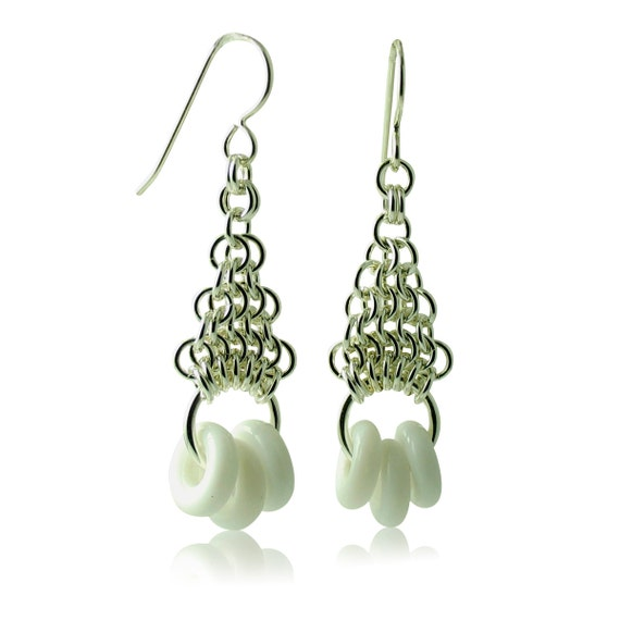 Pure White Geometric Earrings with Sterling Silver Hand-Woven Chain Work Custom Handcrafted