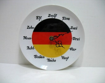 Vintage Wall Clock Mod Sunset Mid Century German Numbers in Words Bergquist Imports