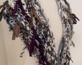 SALE handspun handknit soft merino english leicester triangle scarf cream blue grey recycled silk