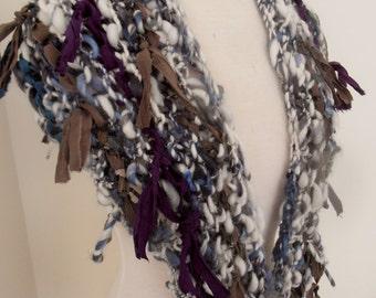handspun handknit soft merino english leicester triangle scarf cream blue grey recycled silk