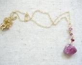 pink tourmaline pendant necklace with tourmaline gemstones. gold filled chain. rough raw pink unpolished tourmaline jewelry