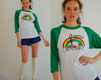 Rainbow Baseball Tee Vintage 1983 Rainbow DREAMSTRING Distressed Made in the USA Jersey Baseball T Shirt (s m)