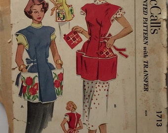 Vintage 1952 McCall's 1713 Women's Aprons Pattern, Size Small