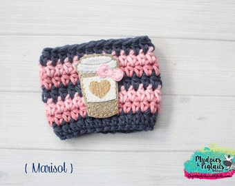 Coffee cup Cozy Crochet { Marisol } pink, navy blue glitter gold, cozies, sleeve, mug sweater, winter, planner girl shabby hostess