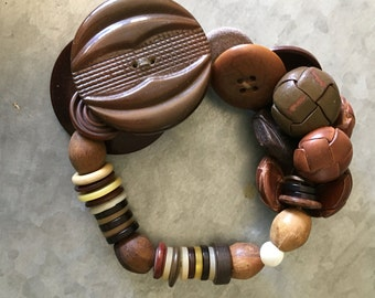 Vintage Leather and Wood Button Bracelet