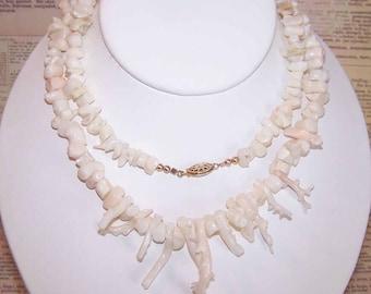 "Vintage Pink Coral, Pink Coral Necklace, 30"" Strand, Branch PINK CORAL, Angel Skin Coral Necklace, Pin Coral Necklace, Branch Coral Strand"