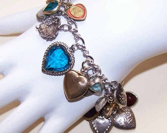 James Avery STERLING SILVER Charm Bracelet with 23 VINTAGE Heart Charms!