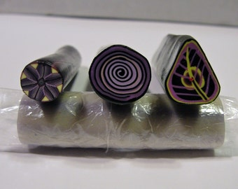 Polymer Clay Cane Purple Floral Set
