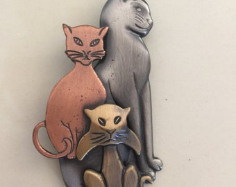 Vintage 3 cat kitten Feline animal brooch jewelry
