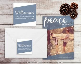 Printable Return Address Label: Square Label - Holiday Return Address Label - Blue Christmas Label - Return Address Sticker - WH211