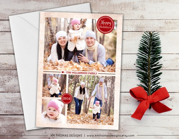 Personalized Photo Holiday Card - Printable Christmas Photo Card - Winter Photo Card - New Years Photo Card - 2016 - Red - WH126