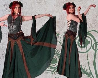 Kundalini Skirt Green - Elegant, floor length, ultra wide and fantastic for twirling in!