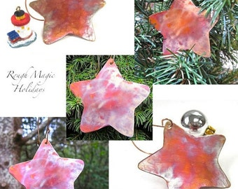 5 Christmas Tree Ornaments, Copper Stars, Rustic Decor, Primitive Country Folk Art Holiday Decorations, Advent Stars, Metal Xmas Ornaments
