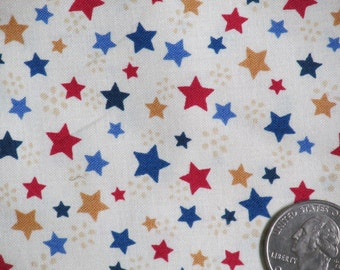"P&B Textiles All Cotton Fabric 45 "" wide BTY Ivory with Red, Blue, and Gold Stars Americana Sweet Liberty Patriotic"