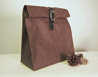 Brown Waxed Cotton Roll Down Lunch Sack