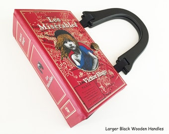 Les Miserables Leatherbound Recycled Book Purse - History Buff Gift - Victor Hugo Book Bag - Theatre Goer Gift - Patron of the Arts Handbag
