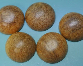 Lot of 20 vintage 1970s unused round beigebrown wood cabuchons with flat backside