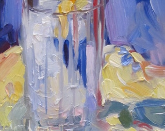 Glass of Ice Water and Lemon....oil painting, still life, abstract realism, artist Linda Hunt