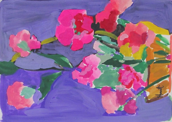"Pretty Pink Carnations....gouache painting, small painting, 5""x 7"" painting, bouquet carnations, artist Linda Hunt"