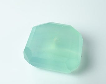 Aqua Blue Faceted Chalcedony Square Nugget