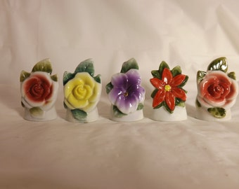 FREE SHIPPING vintage porcelain flowers note holders (Vault A)