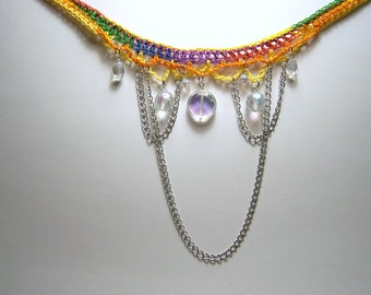 rainbow prism crochet choker