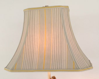 French Ticking Lamp Shade, Rectangle Lampshade Vintage Ticking, Gray and Mustard Yellow Stripes, Farmhouse style, Great fabric - only one!