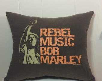 Decorative Pillow, Accent Pillow, Couch Pillow, Throw Pillow, Bed Pillow, Chair Pillow, Brown Pillow, Bob Marley