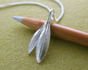 Small Olive Leaves - Made From REAL LEAF - Double Leaf Pendant Necklace, Overlapping Leaf, Pure Silver Jewelry