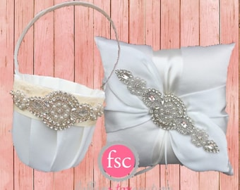 Flower girl basket OR ring bearer pillow set - ivory or white / chiffon puff with rhinestones YOU PICK
