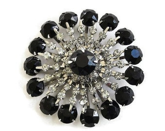 Vintage Black and Clear Rhinestone Layered Snowflake Brooch or Pin