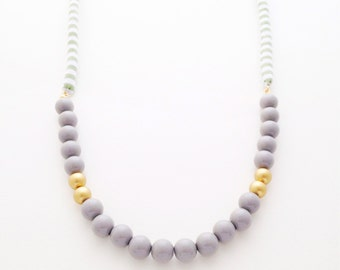 Fabric Cord + Acrylic Beads Necklace - C