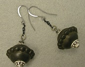 Vintage Black Lucite Dangle Drop Bead Abacus Shaped Earrings, Ornate silver beads, Black Chain - GIFT WRAPPED