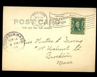 1906 RPPC Boston Massachusetts Charlestown Brockton Postcard Bridge Postcard M27