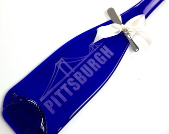 Pittsburgh Really Tall Cobalt Blue Melted Bottle Cheese Tray - Upcycled Glass by Mitchell Glassworks