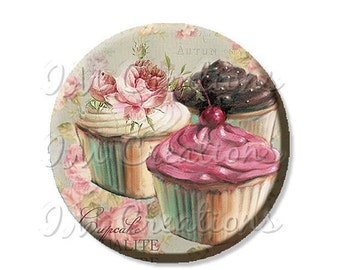 """50% OFF - Pocket Mirror, Magnet or Pinback Button - Wedding Favors, Party themes - 2.25""""- Trio Cupcakes MR423"""