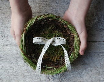 Rustic Wedding Ring Nest with Moss and Crochet Lace - Woodland Wedding - Ring Bearer Alternative