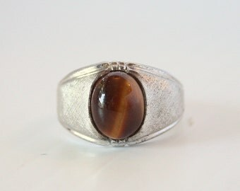Tigers Eye Sterling Ring Vintage Signet Style Sterling Silver Ring Size 7.5