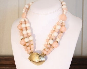 Pink Trifari Multi Strand Necklace 1950s Vintage Multistrand Pink White Lucite Beads 50s Glam PinUp Gold Pendant Centerpiece