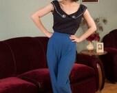 50% OFF SALE - Vintage 1960s Pants - Fabulous Royal Blue Cotton High Waist 60s Stirrup Pants