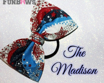 The Madison - Gorgeous New Sewn Rhinestone Patriotic  Boutique Bow by Funbows