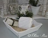 Shabby White Wood Trinket Tray, Fruit Tray, Guest Bath